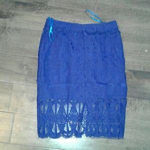 Royal blue lace skirt